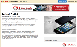 Telisol Outlet Blocket välgörenhet telekom hemlösa Skåne stadsmission